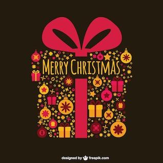 Cartão de Natal com caixa de presente