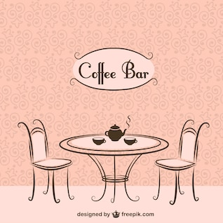 Cadeiras de bar e mesa de café