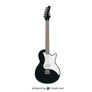Preto e branco do vetor da guitarra