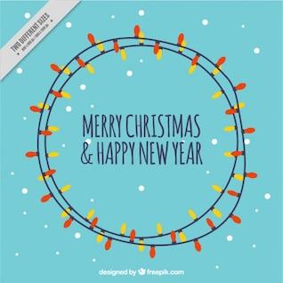 Cartão de Natal com luz lâmpadas vector