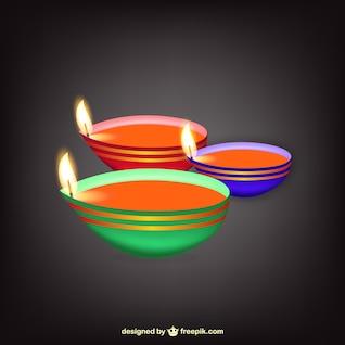 Lâmpada indiana com chamas