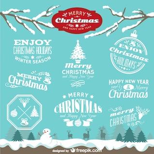 Emblemas do Natal do vintage