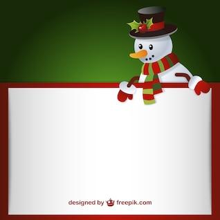 Modelo de carta com boneco de neve