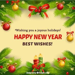 Cartão do ano novo com enfeites de Natal