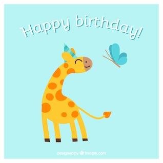 Cartão de feliz aniversário com animais