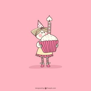 Aniversário queque dos desenhos animados