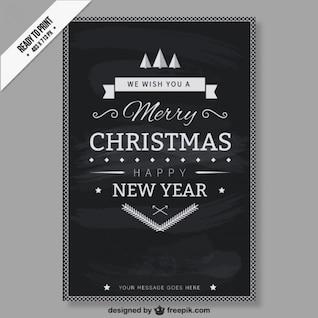 CMYK Preto e cartão de Natal branco