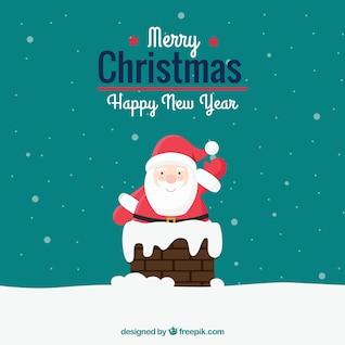 Cartão de Natal com as pernas de Papai Noel