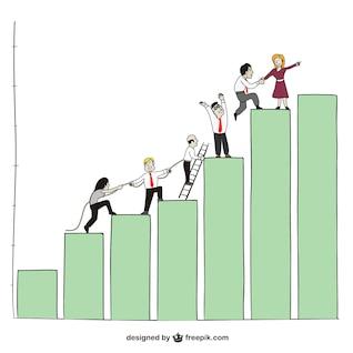 Executivos e gráfico