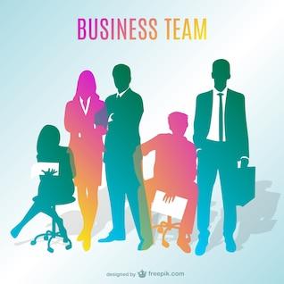 Silhuetas da equipe do negócio