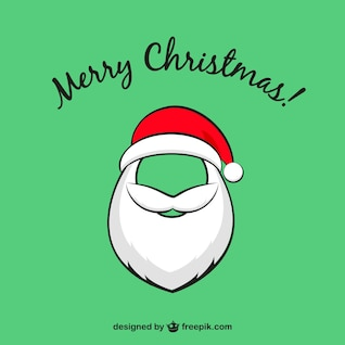 Cartão de Natal com Papai Noel barba