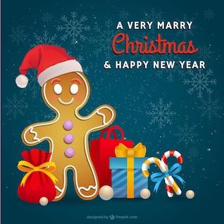 Cartão de Natal com biscoito do pão