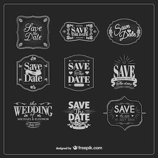 Etiquetas de casamento preto e branco do vintage