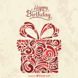 Cartão de aniversário com caixa de presente abstrato