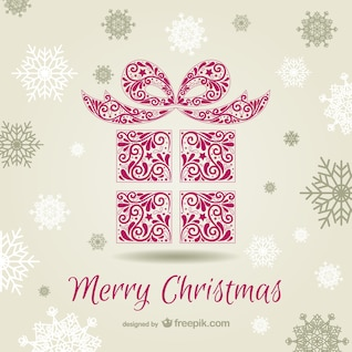 Cartão de Natal com caixa de presente ornamental