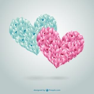 Corações da aguarela