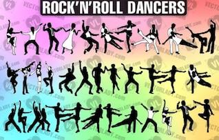 Rock n bailarinos rolo |? Vector Senhora