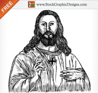 Jesus Cristo Hand Drawn Vector grátis