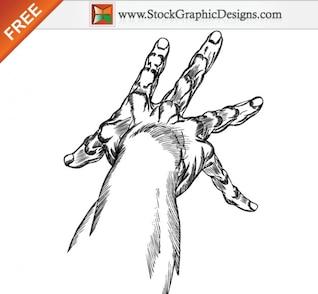 Hand Drawn Mãos Art Vector grátis