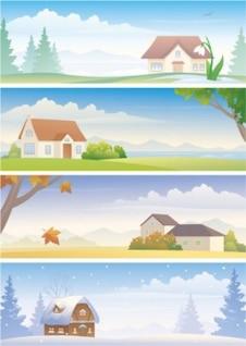 Estações da natureza com a casa fundos
