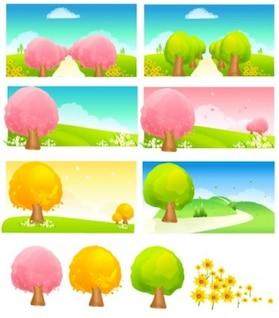 Colorido sazonal muda paisagem de fundo