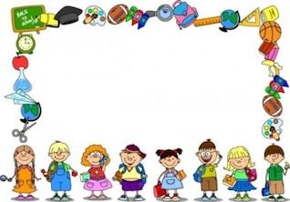 Material escolar dos desenhos animados coloridos e livros