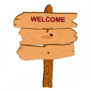 Vetor dos desenhos animados texto da mensagem de boas-vindas sinal de madeira