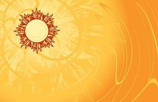Vetor livre quente belo sol verão fundo amarelo alaranjado linha de luz inteligente brilhante