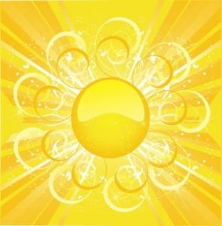 Vetor livre fundo sol amarelo quente de verão onda inteligente linha de fluxo elegância luz brilhante