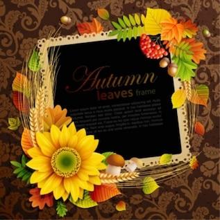 Livre fundo folha vector frame Outono flor amarela inteligente bonito bonito quadrado