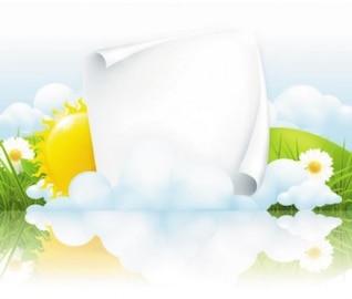 Paisagem primavera com sol de papel, e raios de luz