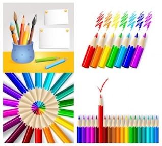 livre do vetor variado série lápis de cor