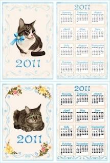 vetor livre gato variado modelo de calendário 2011