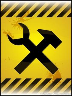 Sob o símbolo de construção amarelo
