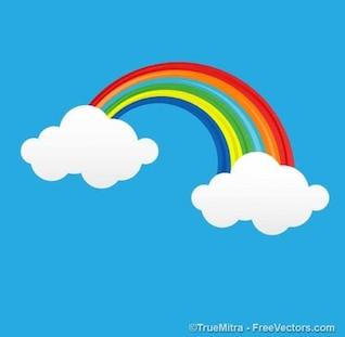 Arco-íris dos desenhos animados com nuvens