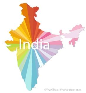 India mapa colorido do vetor