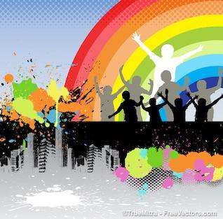 Crianças sob o arco-íris
