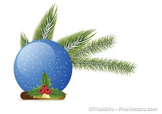 Natal bola de cristal com ramos