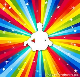 Vetor homem colorido yoga