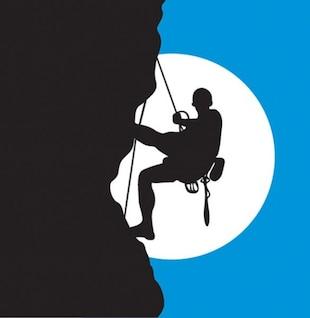 Silhueta alpinista e da lua