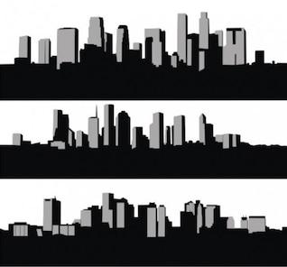 Elevado aumento da skyline da cidade silhuetas
