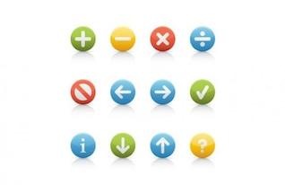 Botões de navegação rodada colorido em forma