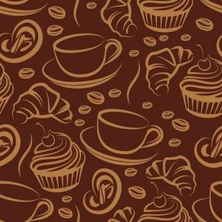Padrão marrom café com xícaras de café