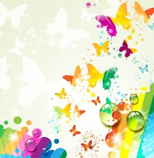 Multicolor rosas e borboletas vetor