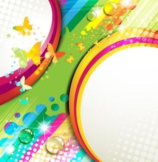 Fundo do arco-íris com borboletas coloridas e listras