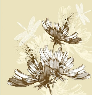 Pintados à mão floral e libélulas fundo