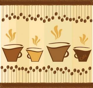 Vetor vintage com copos de café