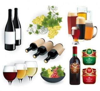 Garrafas de vinho luxuosos e copos de cerveja
