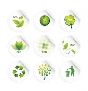 Adesivos verdes e rótulos de reciclagem vetor