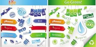 Eco estilo colorido adesivo pacote vector